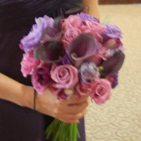 bride's bouquet of purple roses, callas, tulips, and freesia